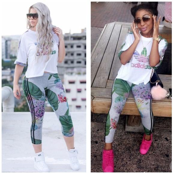 fcae4fef6d919 adidas Pants | 2pc Floral Crop Top Leggings Set Xs | Poshmark
